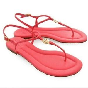 Tory Burch Emmy Thong Sandals Pink Patent 7.5